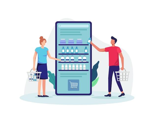 Gente de compras en línea con canasta de retención, concepto de tienda de comestibles en línea. estilo plano de ilustración