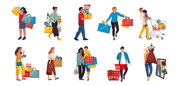 Gente de compras. personajes de dibujos animados de moda en la tienda minorista. personas de ilustraciones vectoriales en escenas de centro comercial.