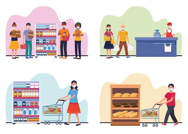 Gente de compras en el supermercado con mascarilla