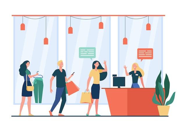 Gente de compras en la tienda y esperando en línea o cola ilustración vectorial plana. vendedor de dibujos animados de pie y saludando a los clientes. concepto de venta, descuento y oferta especial.