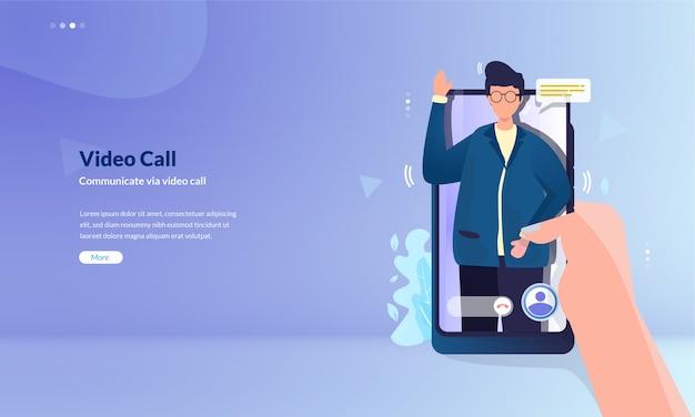 La gente se comunica a través del concepto de ilustración de videollamada