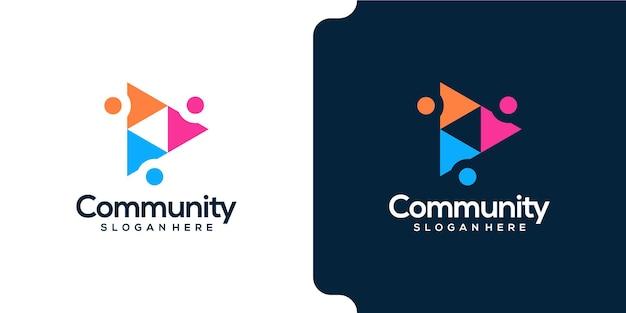 Gente de la comunidad en diseño de logotipo en forma de triángulo