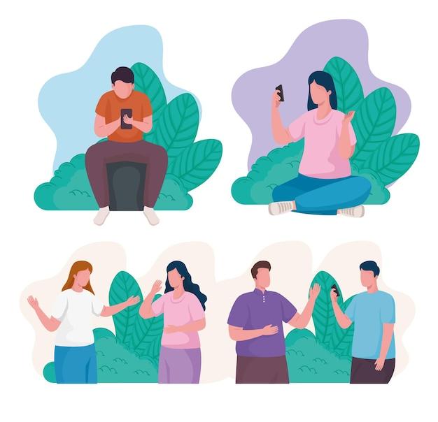 Gente de la comunidad que usa la ilustración de personajes de teléfonos inteligentes.