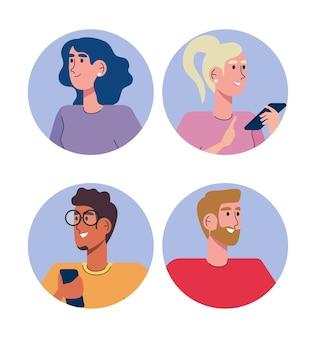 Gente de la comunidad que usa teléfonos inteligentes avatares personajes ilustración