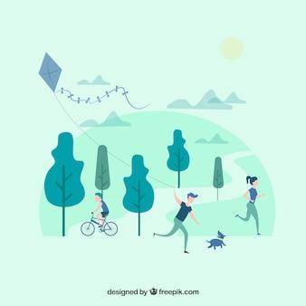 Gente con diseño plano haciendo actividades de ocio al aire libre
