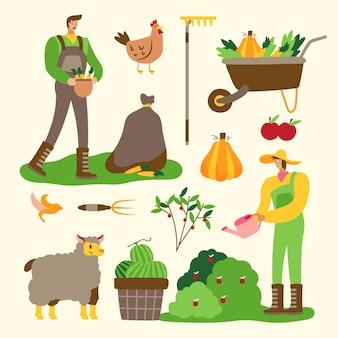 Gente de concepto de agricultura orgánica trabajando