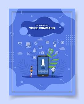 Gente de concepto de comando de voz alrededor de la onda de sonido de micropono de teléfono inteligente en pantalla