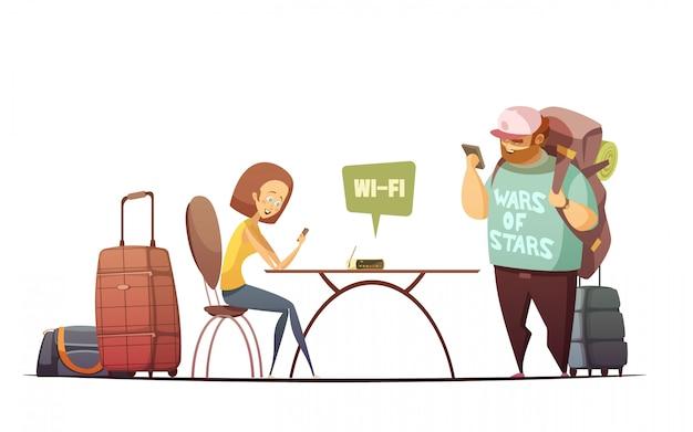 Gente en concepto de diseño interior del albergue con el hombre y la mujer leyendo información en línea en su teléfono