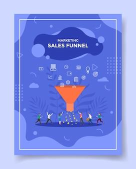 Gente de concepto de embudo de ventas alrededor de iconos de filtrado de embudo marketing a dinero