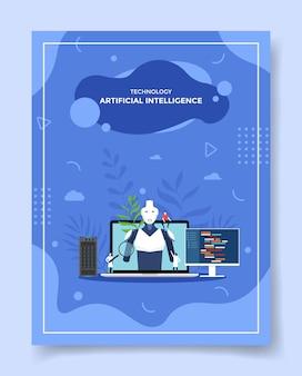 Gente de concepto de inteligencia artificial de tecnología alrededor de cyborg robot portátil para plantilla