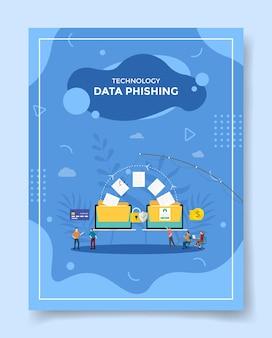 Gente de concepto de phishing de datos de tecnología alrededor de datos de papel de pesca en una computadora portátil