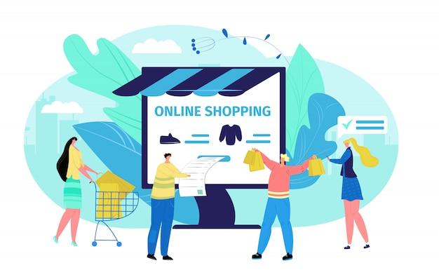 Gente en el concepto de la tienda en línea de los ordenadores de empresa, ilustración. cliente a escala de internet, mujer hombre comprar ropa. tecnología de aplicación comercial de compras, pago de dibujos animados.