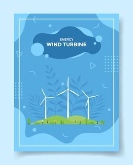 Gente de concepto de turbina eólica de energía alrededor de campo verde de hélice de turbina eólica para plantilla
