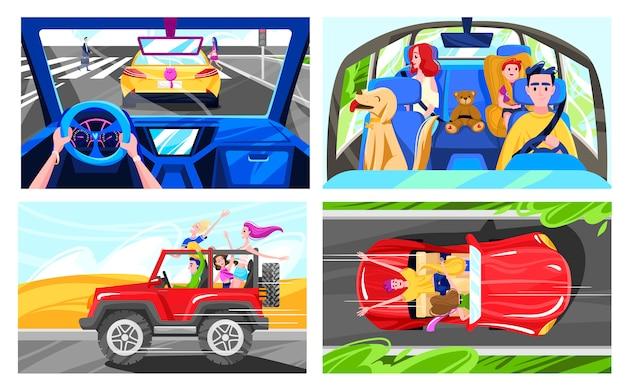 Gente conduciendo coches, feliz viaje familiar, amigos divirtiéndose juntos, ilustración