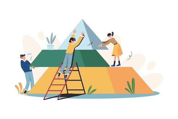 La gente conecta los elementos del rompecabezas de la pirámide.