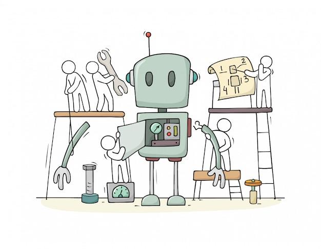 La gente y la construcción del robot lindo ensamblado