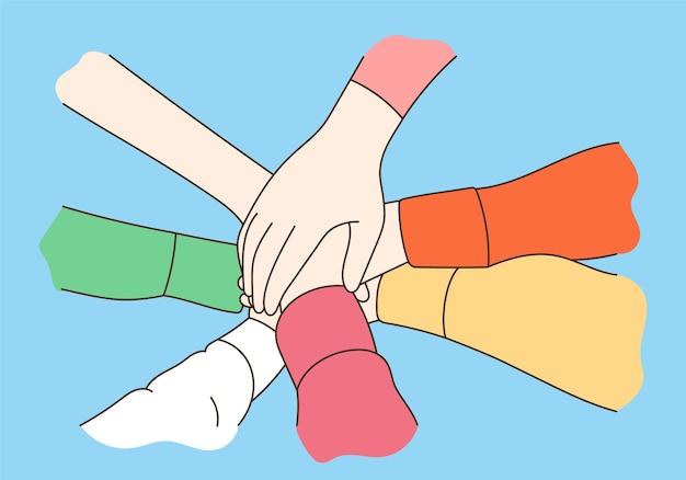 Gente de cooperación empresarial, unidad y trabajo en equipo.