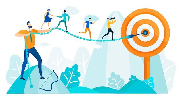 La gente corre hacia la meta, habilidades de liderazgo en la práctica.