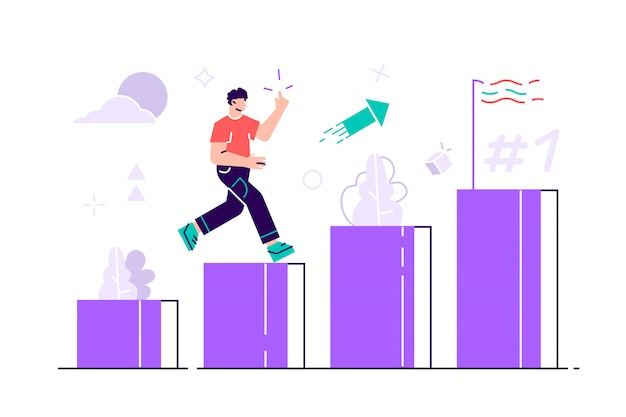 La gente corre hacia su meta en la columna de columnas ilustración. mover hacia arriba la motivación