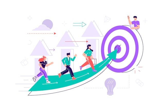 La gente corre hacia su meta en la columna de columnas, sube la motivación, el camino hacia el logro del objetivo. ilustración de estilo plano