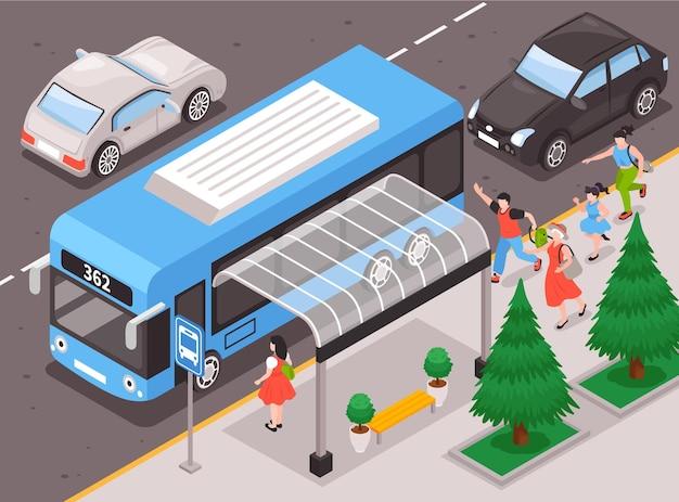 Gente corriendo para el fondo del autobús con parada de autobús y símbolos de prisa ilustración isométrica