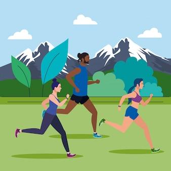 Gente corriendo paisaje montañoso, gente corriendo diseño de ilustración de personajes avatar al aire libre