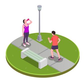 Gente corriendo y trotando en el concepto de parque con símbolos isométricos de estilo de vida activo