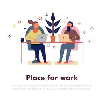 Gente de coworking con lugar para trabajo y símbolos de laptop planos