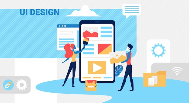 La gente crea un concepto de interfaz de usuario con un pequeño equipo de diseñadores
