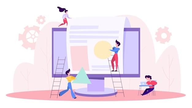 La gente crea un sitio web. proceso de desarrollo de la página web