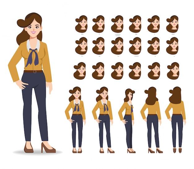 Gente de creación de empresaria de animación de personajes con emociones cara boca de animación