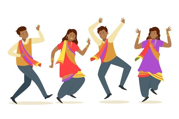 Gente creativa de la fiesta de bollywood bailando