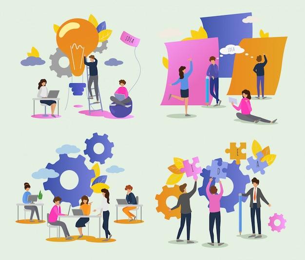 Gente creativa hombre mujer personaje trabajando juntos en la oficina conjunto de ilustración de ideas de trabajo en equipo equipo de lluvia de ideas creando diseño de proyecto en reunión