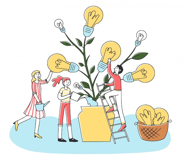 Gente creciendo planta de electricidad ecológica