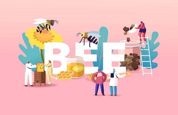 La gente cría abejas, extrayendo miel ilustración