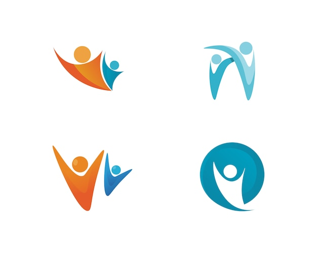 Gente cuidado éxito salud vida logotipo plantilla iconos