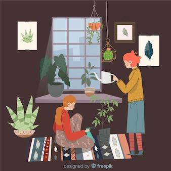 Gente cuidando de las plantas