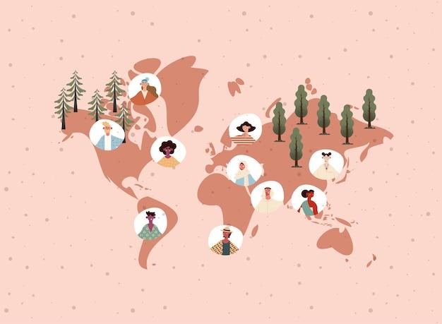 Gente de cultura étnica en el mapa del mundo.