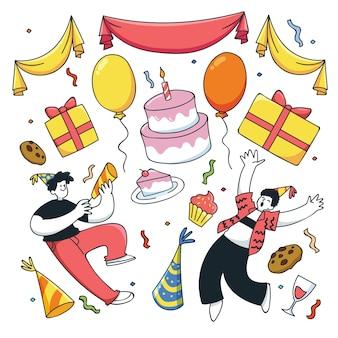 Gente de cumpleaños y muchos elementos
