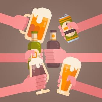 La gente da el concepto del festival de la celebración del partido que anima de la cerveza que tintinea