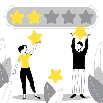 La gente da una reseña. calificación y retroalimentación. revisión del cliente con estrellas