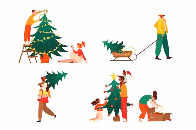 Gente decorando la colección del árbol de navidad
