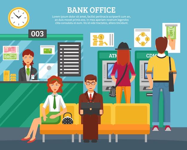 Gente dentro del concepto de diseño de la oficina del banco