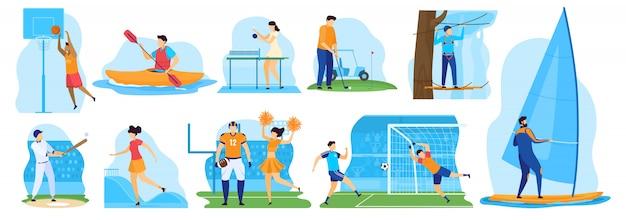 Gente de deporte activo jugando baloncesto y golf, ilustración vectorial