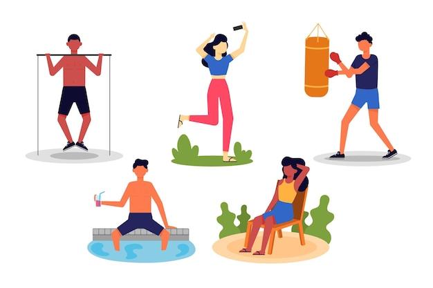 Gente deportiva de verano que se queda al aire libre
