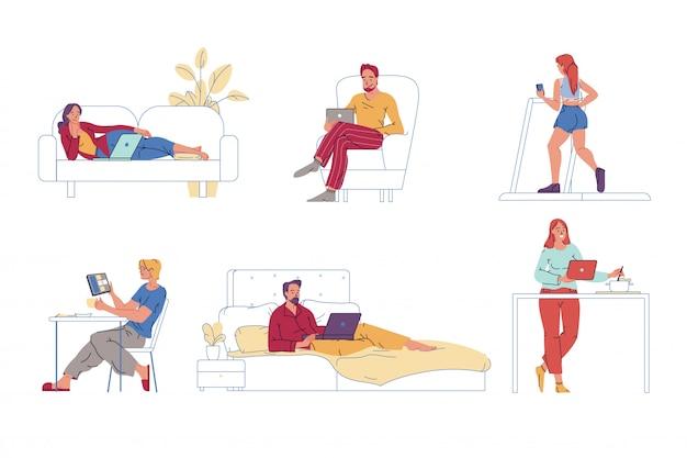 La gente descansa, hace deporte, cocina con aparatos digitales