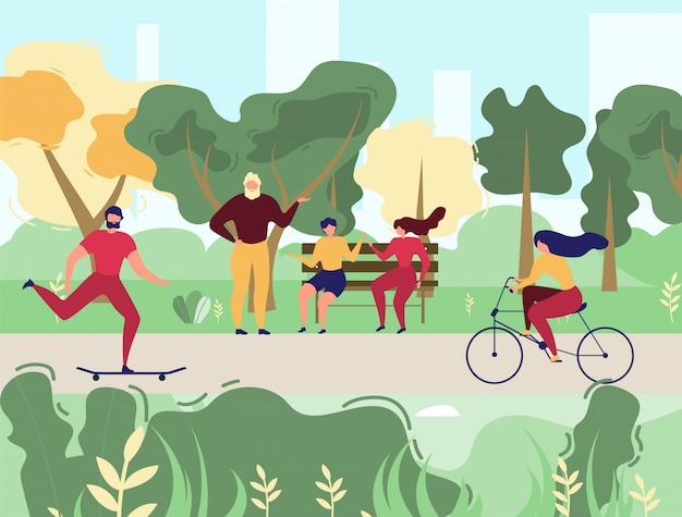 Gente descansando en el parque de la ciudad, ilustración vectorial