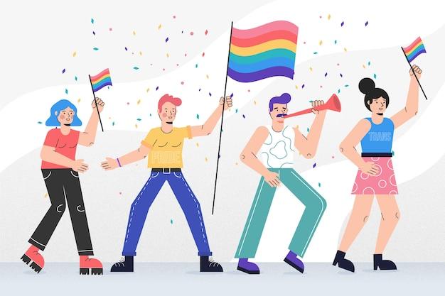 Gente del día del orgullo celebrando