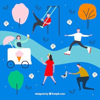 Gente dibujada a mano haciendo actividades al aire libre