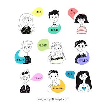 Gente dibujada a mano con bocadillos de conversación en distintos idiomas